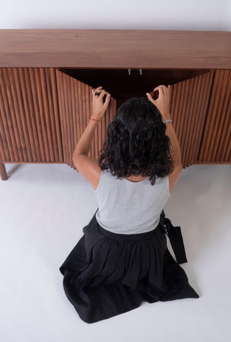 Turned RIMA Credenza, 3M Solid Tzalam Wood For Sale