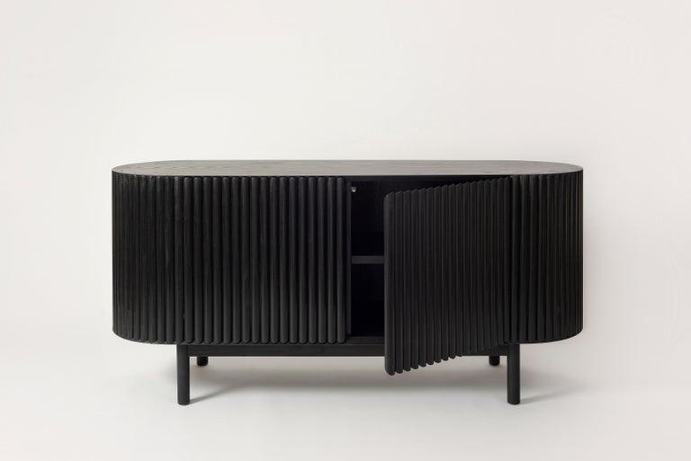 Minimalist RIMA Credenza, Solid Black Oakwood For Sale