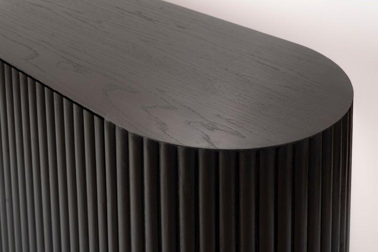 Contemporary RIMA Credenza, Solid Black Oakwood For Sale