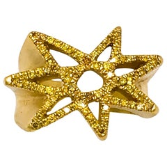 RIMA Jewels 22k Gold and Fancy Yellow Diamond Pavé Shooting Star Ring