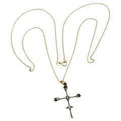 RIMA Jewels Ojo De Dios Delicate Cross Necklace
