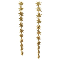 RIMA JEWELS Seven Pointed Star Drop Earrings with Natural Yellow Diamonds