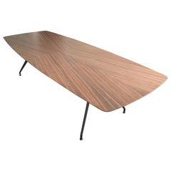 Rimadesio Walnut Wood Top Metal Leg Structure Iconic Manta Table