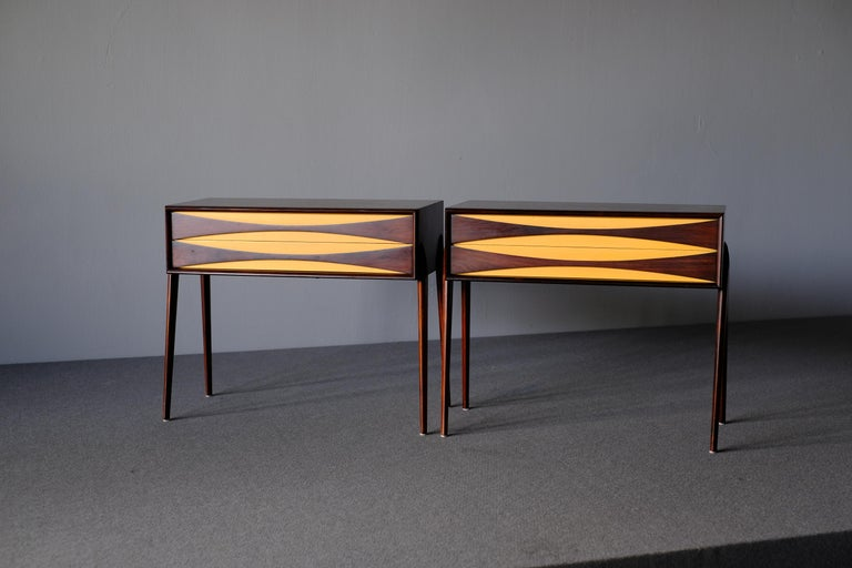 Rimbert Sandholt, Nightstands in Rosewood In Good Condition For Sale In Singapore, SG