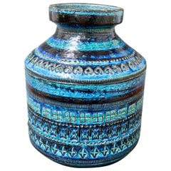 Rimini Blu Vase with Geometric Shapes, Aldo Londi for Bitossi, circa 1960s-1970s