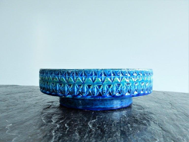 Mid-Century Modern 'Rimini Blu'series Ceramic Bowl by Aldo Londi Rimini for Bitossi, Italy, 1960s For Sale