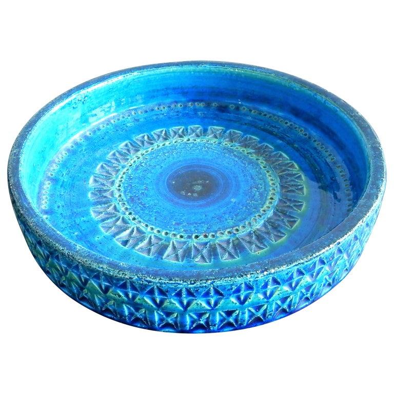 'Rimini Blu'series Ceramic Bowl by Aldo Londi Rimini for Bitossi, Italy, 1960s For Sale