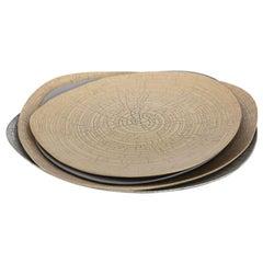 Rina Menardi Handmade Ceramic Crackled Triangular Bowls and Plate