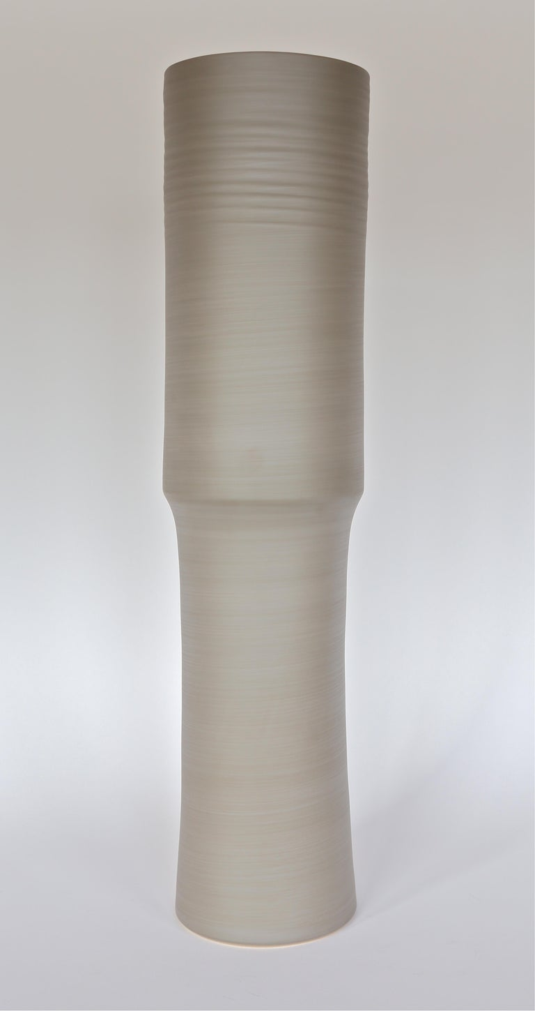 Hand-Crafted Rina Menardi Handmade Ceramic TOTEM Vase in Light Brown For Sale