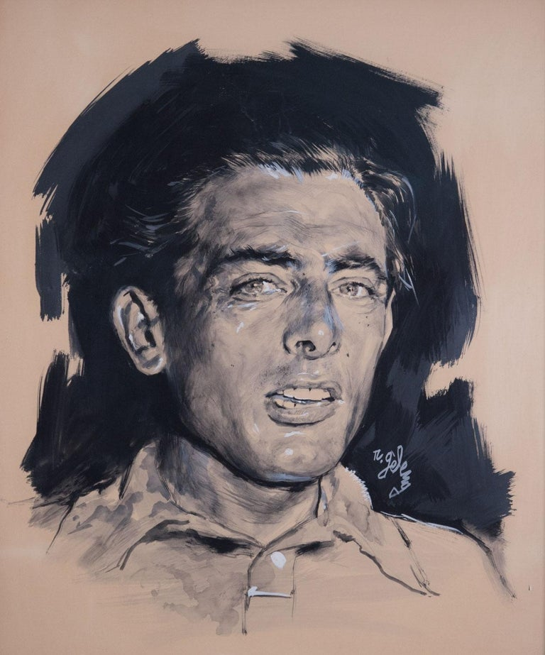 Portrait of the road cycling champion Fausto Coppi (1919–1960) by the artist Rinaldo Geleng, drawn for an article by Gianni Reif two years after the champion's death. Wood frame and glass.
