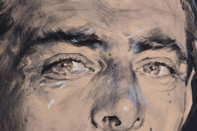 Mid-Century Modern Rinaldo Geleng Signed Italian Portrait For Sale
