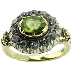 Ring, 14 Carat Gold, Antique, Diamond, Peridot, Clusterring