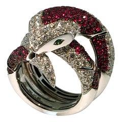 Ring, 18 Carat Gold, Diamonds, Ruby, Flexible Snake Ring