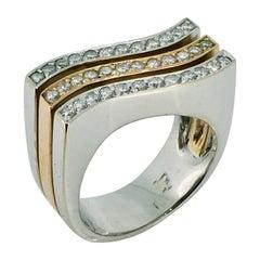 Ring, 18 Carat White and Yellow Gold, Diamonds, Original Louis Féraud