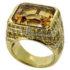 Ring, 18 carat Yellow gold, Diamonds, Yellow Sapphire, New, Handmade