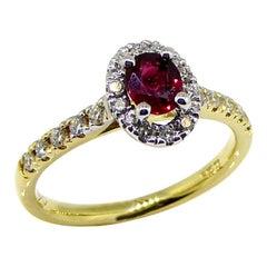 Ring, 18 Carat Yellow Gold, Diamond, Ruby, Clustering