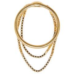 Ring  Silver 18 Karat Gold-Plated Box Chain Movement Greek Jewelry