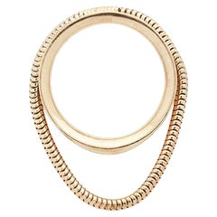 Ring 18 Karat Gold-Plated Silver Short Snake Chain Movement Greek Jewelry