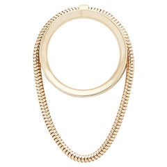 Ring 18 Karat Gold-Plated Silver Snake Chain Movement Greek Jewelry