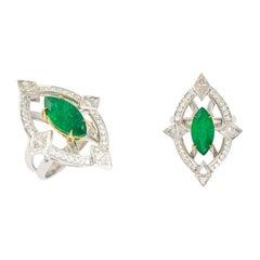 RING 18 Karat Gold Ring, 3.19 Carat Emerald and 1.14 Carat White Diamonds