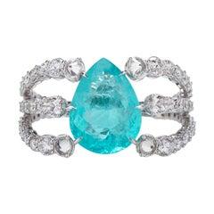 9,14ct Paraiba Tourmaline & White Diamond Ring