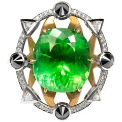 RING 18 Karat White Gold 40.76 Carat Green Tourmaline and Diamonds