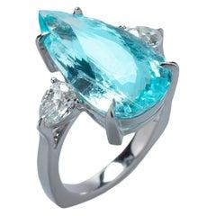 Ring 18 Karat White Gold, 8.60 Carat Paraiba Turmaline and 0.93 CT White Diamond