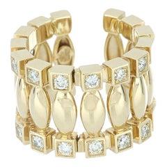 Ring 18 Karat Yellow Gold and Cream Diamonds VS color G, Handmade