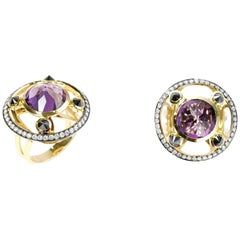 RING 18 Karat Yellow Gold with 5.16 Carat Amethyst with Black and White Diamonds