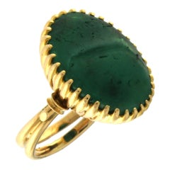 Ring 18 Karat Yellow Gold with Green Agate