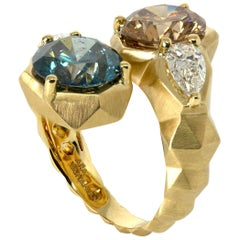 Ring 18 Yellow Gold Ring, Blue, Brown and White Diamonds