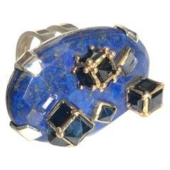 Ring Anne Bourat 1 Lapis Lazuli 17 Sapphires Silver Yellow Gold 18K Metric 54
