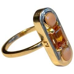 Ring Anne Bourat 1 Spessartite Garnet 2 Coral Cabochon Pink Gold 18k Metric 51