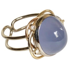 Ring Cabochon Chalcedony and 3 Diamonds White Gold 18 Karat Metric 54