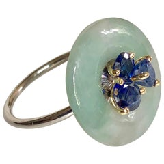 Ring Anne Bourat Donut Jadeïte and 3 Sapphires Silver Yellow Gold 18K Metric 54
