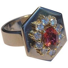 Ring Anne Bourat Oval Garnet 10 Brilliant Diamonds White Gold 18k Hexagon Shape