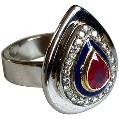 Ring Anne Bourat Pear Ruby 24 Diamonds Blue Enamel 17 Grams White Gold Metric 54