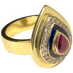 Ring Anne Bourat Pear Ruby 24 Diamonds Blue Enamel 17 Grams YellowGold Metric 54