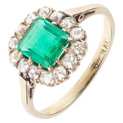 Ring Antique Emerald and Diamond Cluster Mounted in 18 Carat Gold English, 1860