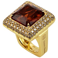 Brown Diamond Citrine Quartz  18 KT Yellow Gold Made in Italy Ring