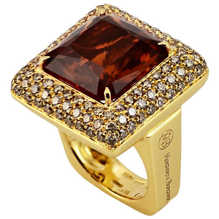 Brown Diamond Citrine Quartz  18 KT Yellow Gold Made in Italy Ring For Sale