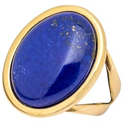 Ring Cabochon Lapis-Lazuli Mounted on a Yellow Gold