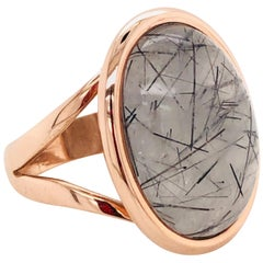 Ring Cabochon Rutiled Quartz Mounted on a Rose Gold 18 Karat