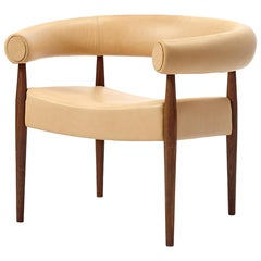 Ring Chair, Nanna & Jorgen Ditzel, Leather, Lacquered Oak