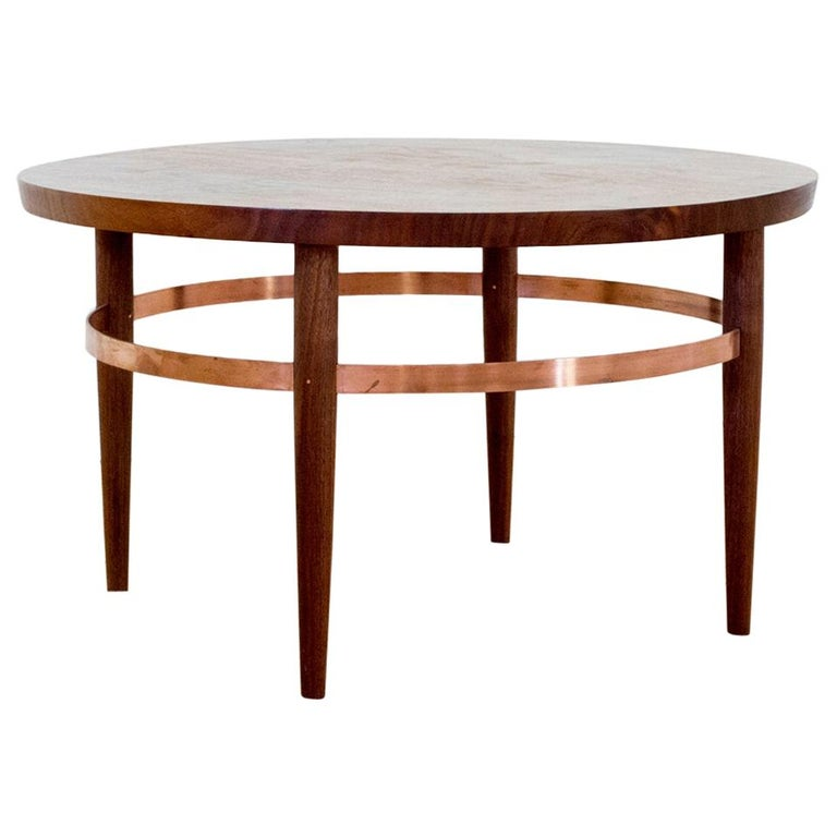 Ring Coffee Table in Bookmatched Walnut and Copper with Hand-Turned Legs For Sale