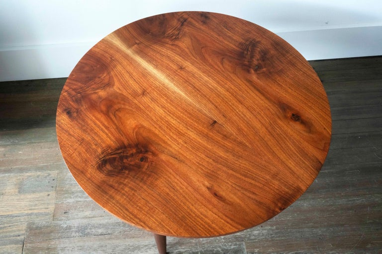 Ring Coffee Table in Bookmatched Walnut and Copper with Hand-Turned Legs For Sale 1
