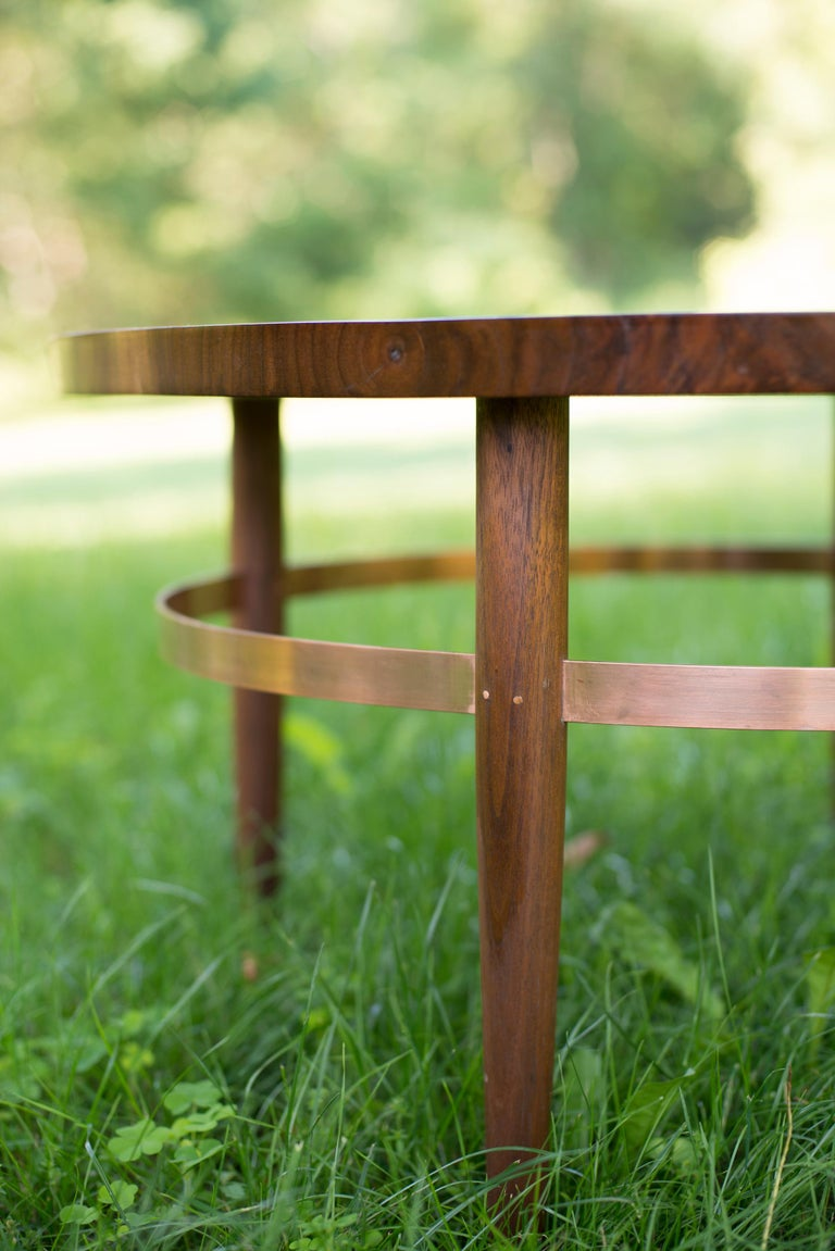 American Ring Coffee Table in Bookmatched Walnut and Copper with Hand-Turned Legs For Sale