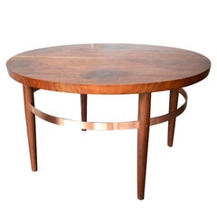 Ring Coffee Table in Walnut and Copper with Hand-Turned and Tapered Legs