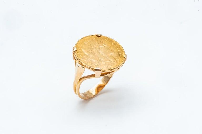 Artisan Ring Coin 20 Francs in Yellow Gold 24 Carats Marianne République Française For Sale