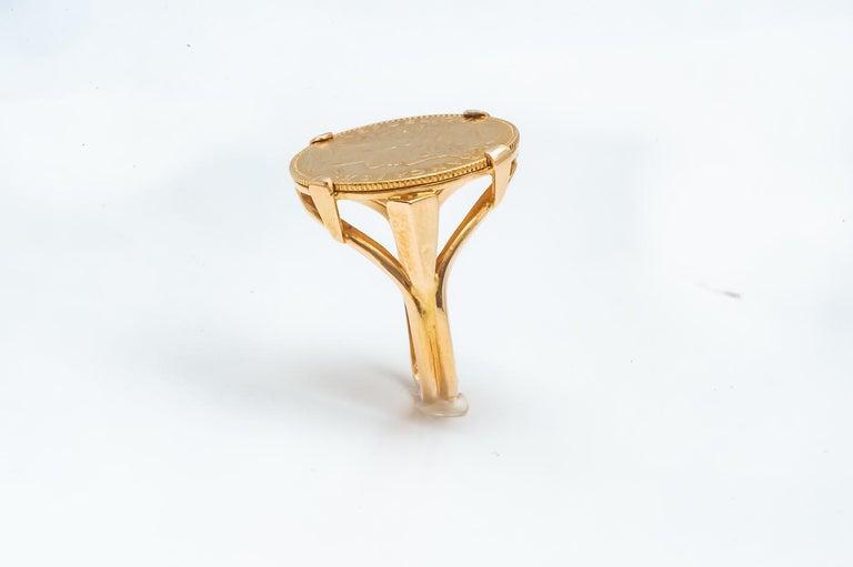 Women's or Men's Ring Coin 20 Francs in Yellow Gold 24 Carats Marianne République Française For Sale